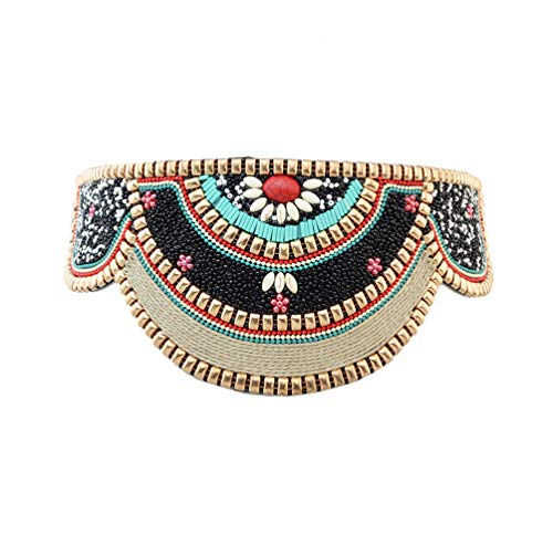 Indian Beaded Belt - Idealway Retro Charms Ethnic Beaded Elastic Strech Adjustable Belt Waist Belly Chain Body Jewelry (Black)