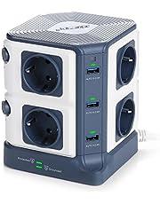 BESTEK Multipresa Ciabatta Elettrica Verticale a 8 Prese Schuko (a due spine) e 6 Porte USB con Interruttore Indipendente, 1500J Surge Protezione