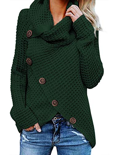 Asvivid Womens Button Turtle Cowl Neck Long Sleeve Asymmetric Wrap Comfy Cardigans Sweaters Fall Plus Size 1X Green ()
