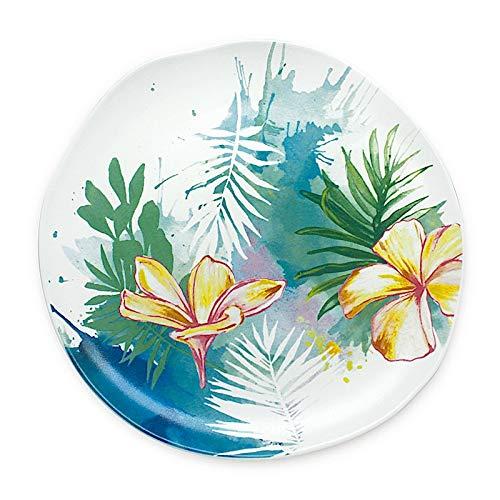 - Lauren Roth Designer Hawaiian Ceramic Dinnerware Collection - Tropical Garden (Salad Plate)
