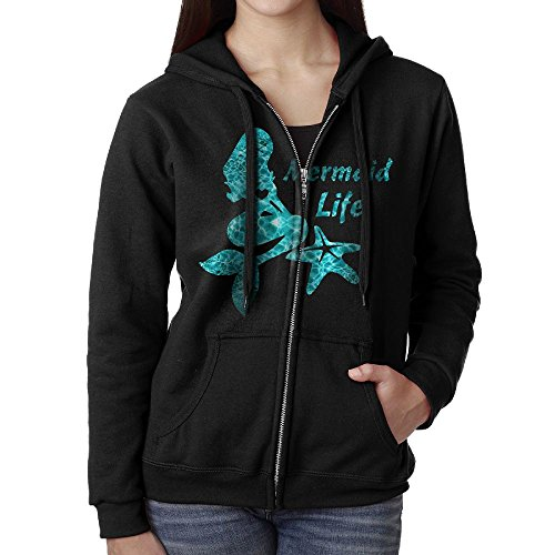 Women's Mermaid Life Starfish Heart Full-Zip Hoodie Sweatshirt Fleece Pullover Hooded Shirts Pocket (Dad Womens Zip Hoodie)