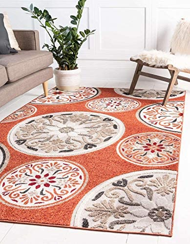 Unique Loom Outdoor Modern Collection Carved Floral Transitional Indoor and Outdoor Flatweave Terracotta Area Rug 8' 0 x 10' 0