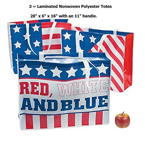 3 ~ X-large Patriotic Tote Bags / Shopping Bags ~ Laminated
