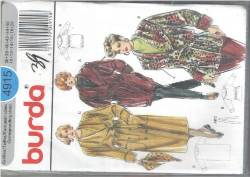Burda 4915 Oversize Draped Shawl Collar Lined Carcoat or Below Knee Double Breasted Belted Patch Pocket Coats with Roll Cuff Sleeves or Drawstring Tie in Collar to Cinch up for Cold Weather Sewing Pattern Misses 10 12 14 16 18 20