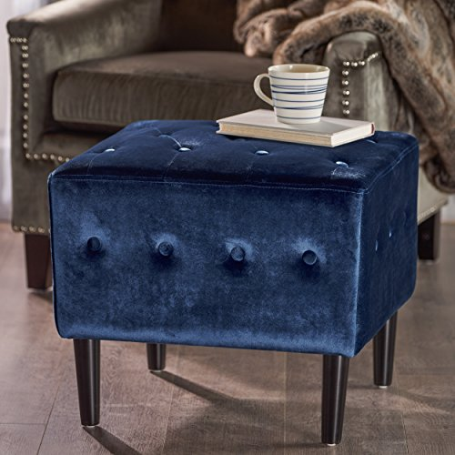 Christopher Knight Home Aleena Tufted Navy Blue Velvet Ottoman
