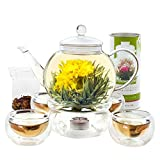 Teabloom Glass Teapot & Glass Infuser Set - Holds 6-8 Cups – Best for Loose Leaf Tea or Blooming Tea – 2 Tea Flowers Included (40 oz Teapot)