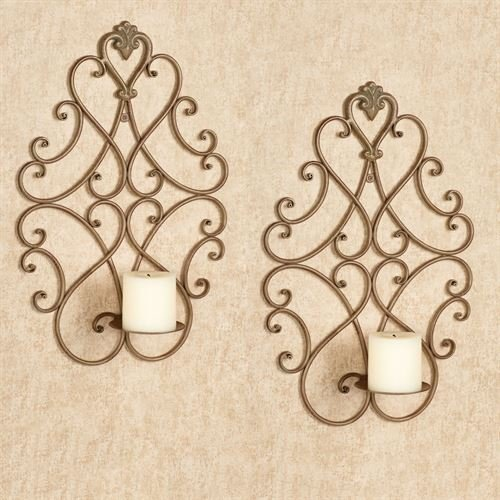 Touch of Class Satin Gold Ornate Candle Holders Wall Sconce Pair Metal Candleholders