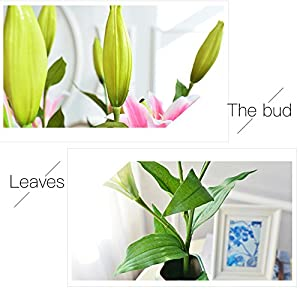 Zebery 6 Pcs Artificial Tiger Lily Latex Real Touch Flowers Fake Flower for Home and Wedding Decoration Artificial Flowers Home Hotel Wedding Party Garden Decorative Arrangement Flowers 4