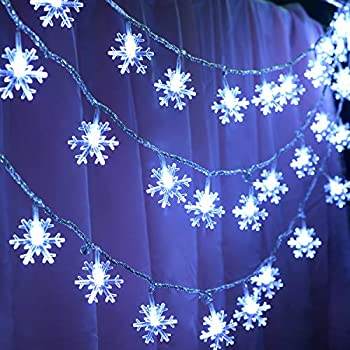 KFK Snowflake Lights String, 32.8ft LED String Lights 100 LEDs 8 Modes Waterproof Fairy Lights for Christmas Decorations