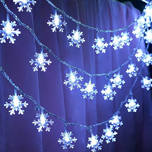 KFK Snowflake Lights String, 32.8ft LED String Lights 100 LEDs 8 Modes Waterproof Fairy Lights for Christmas Decorations (Indoor Snowflake Lights Christmas)