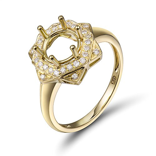 (Lanmi Solid 14K Yellow Gold Women's Engagement Round Cut 7mmmm Diamond Semi Mount Ring Set)