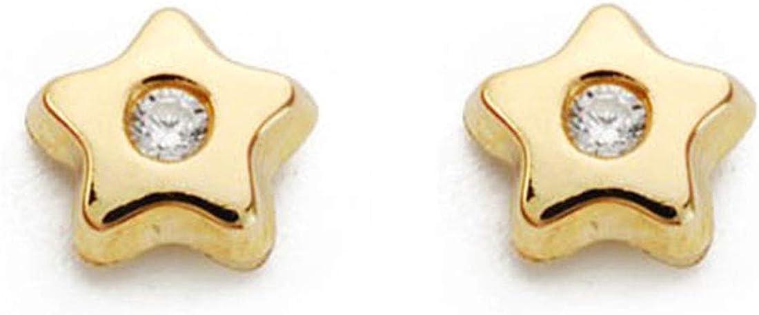 Pendientes de Bebe/Niña oro 9 kts. Estrella con centro de circonita