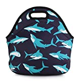push air freshener - Violet Mist Neoprene Reusable Insulated Lunch Tote Bag School Picnic Thermal Carrying Gourmet Lunchbox Container Organizer For Men, Women, Adults, Kids, Girls, Boys (Sharks)