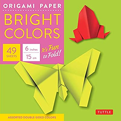"""Origami Paper - Bright Colors - 6"""" - 49 Sheets: (Tuttle Origami Paper)"""