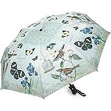 Mint Green Butterflies & Birds Auto Open/Close Compact Designer Umbrella