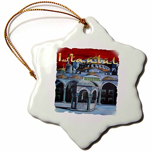 Ahmed Sultan Mosque (3dRose orn_28172_1 Istanbul Sultan Ahmed Mosque Porcelain Snowflake Ornament, 3-Inch)