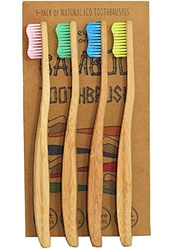Cepillo de dientes de bambú con cerdas suaves premium de Smiley Monkey aprobado por Dentista,