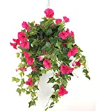 Lopkey Silk Morning Glory Artificial Flowers Patio Lawn Garden Hanging Basket Decor,Red(3pcs)