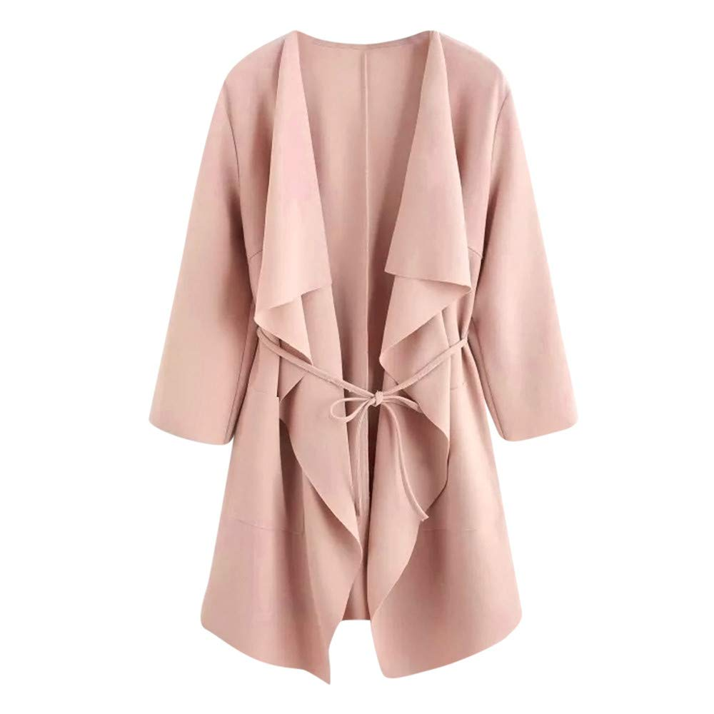 BeautyVan—Winter Clearance Sale ! Women Jacket Women Casual Waterfall Collar Pocket Front Wrap Coat Jacket Outwear Cardigan