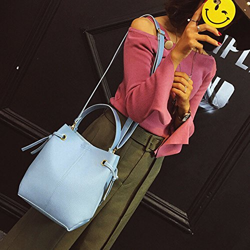 en cuir Body ESAILQ Sac Grande bandoulière Mode Bleu Capacité main à Cross Pochette Femmes Sac à Sac Messenger WBxBInrO7w