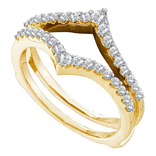 Jewel Tie - Size 5 - Solid 14k Yellow Gold Round Diamond Ring Guard Wrap Enhancer Wedding Band (1/2 Cttw.)