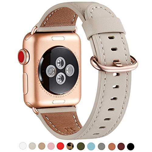 WFEAGL Compatible iWatch Band 40mm 38mm, Top Grain Leather Band with Gold Adapter (The Same as Series 4/3 with Gold Aluminum Case in Color) for iWatch Series 4/3/2/1(Ivory White Band+RoseGold Adapter)