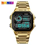 YCDC Gold Military Sports Watch Men Compass Calories Waterproof Watches Stainless Strap Wristwatch