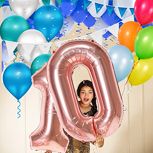YaMeite 40 inches Large Helium Number Balloons, Rose Gold 0 1 2 3 4 5 6 7 8 9 Balloons Number,Gaint Foil Number Age Balloons for Birthday Party Decoration (Rose Gold 0)