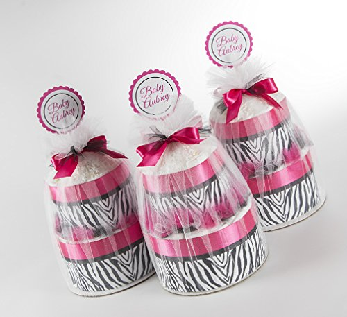 Three Hot Pink & Zebra Two Tier Mini Diaper Cakes. Baby Shower Centerpieces or Gift. by Sassy and Sweet Boutique