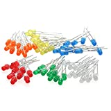 Chanzon 60pcs (6 colors x 10pcs) 3mm LED Light Emitting Diode Lamp Diffused Assorted Kit ( White Red Green Blue Yellow Orange )
