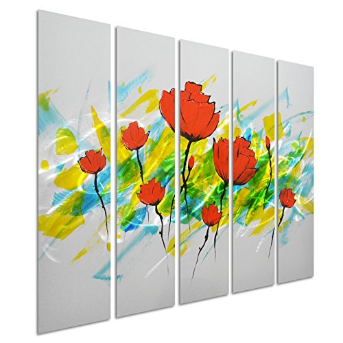 Pure Art Dance of Tulips - Contemporary Flower Metal Wall Art Painting- Red Abstract Decoration Set of 5 Panel - Hanging Sculpture of 34