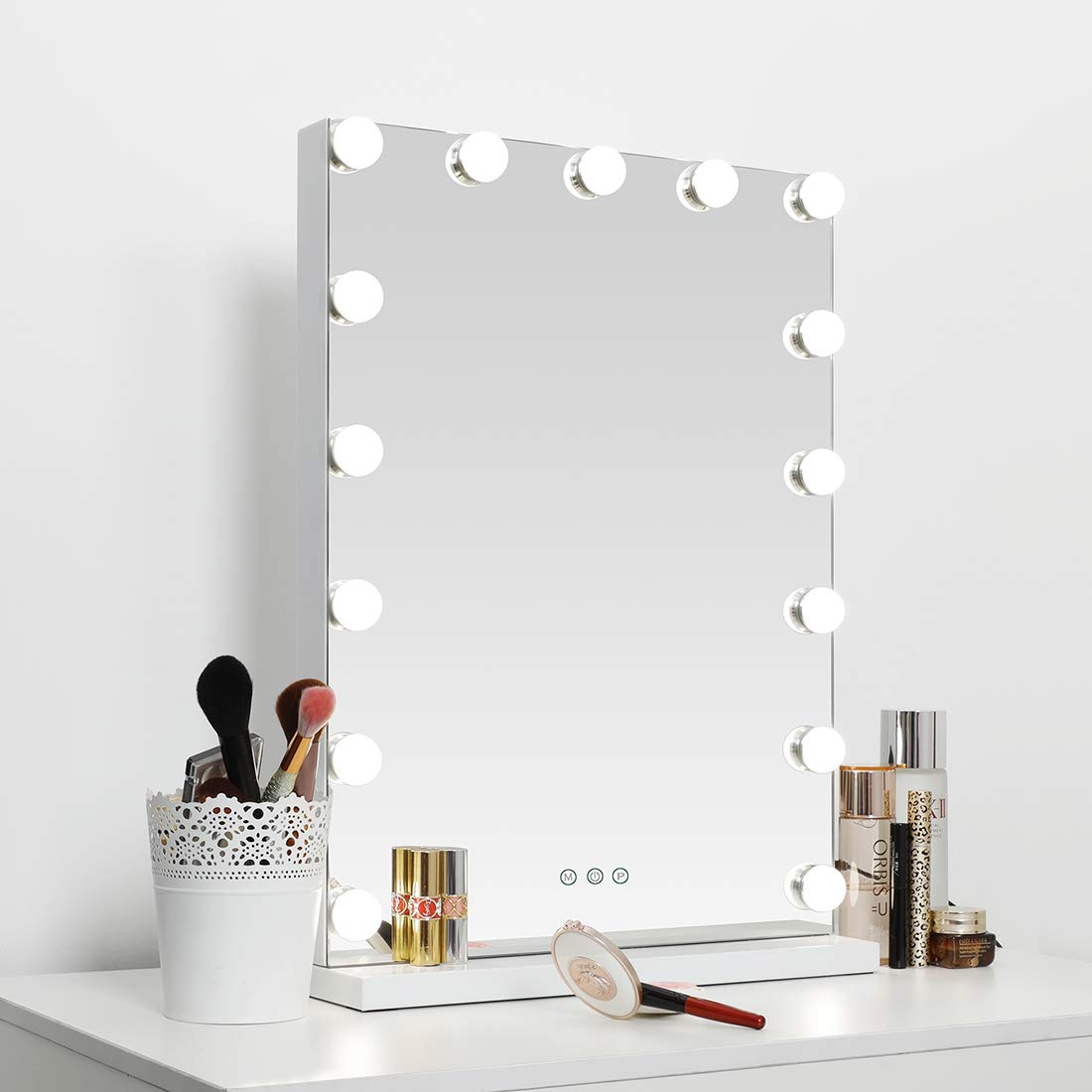 SHOWTIMEZ Hollywood Lighted Vanity Mirror with 15 Dimmable Bulbs, USB Charging port, 3 Light Modes, Frameless Tabletop Makeup Mirror with Smart Touch Control, W16.9 xH22.8 , White