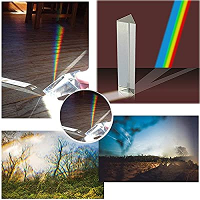Simuer Crystal Optical Glass Triangular Prism Refractor for Teaching Light Spectrum Physics and Photo Photography Prism, 2