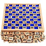 Amberetech Wooden Toys Hundred Board Montessori 1-100 Consecutive Numbers Wooden Educational Game for Kids with Storage Bag,W8.26 L8.26inches