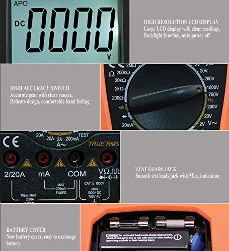 VC9808+ 3 1/2 Digital multimeter Electrical Meter ammeter 20A voltmeter Inductance Frequency teste - - Amazon.com