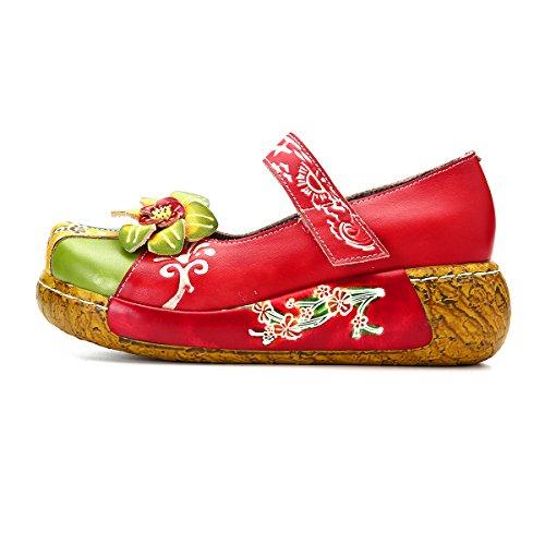 Gracosy Kiler Sandaler, Kvinders Læder Håndlavede Farverige Blomst Vintage Slip-on Sko Platform Sandaler Rød