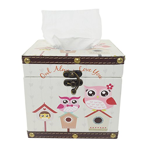 Vintage Tissue Box Holder - Decorative Tissue Box Cover for Kitchen, Dining and Living Room - Square Pumping Paper Case with Waterproof Faux Leather and Japanese Printing Technology (Cartoon Owl) ()