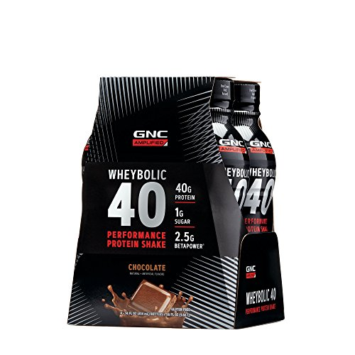 GNC AMP Wheybolic 40, Chocolate, 4 Bottles, Meal Replacement