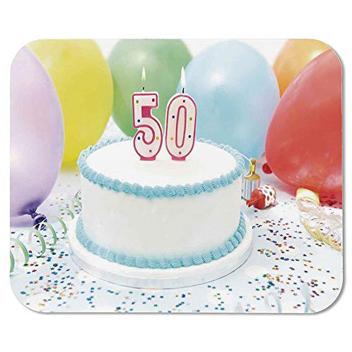 50th Birthday Decorations Custom Mouse Pad,White Sweet Cake