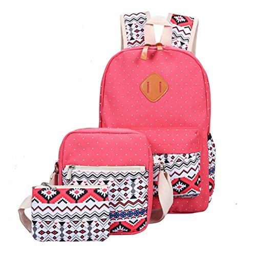 Coohole Girl Canvas Shoulder School Bag Backpack+Crossbody Tote Bag+Clutch Purse (red) (Red Canvases)