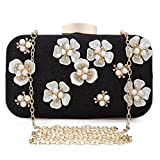 Chichitop Women's Floral Beaded Design Evening Clutch Bags Wedding Purse Black