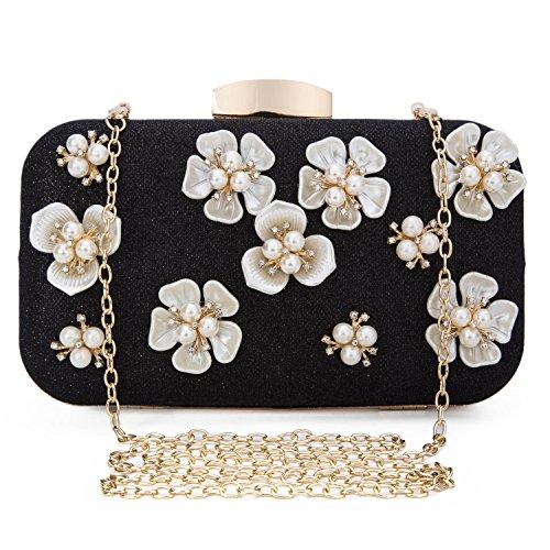 Clocolor Womens Glitter Floral Rhinestone Beaded Evening Bags Wedding Clutch Purse Crystal Designer Handbag