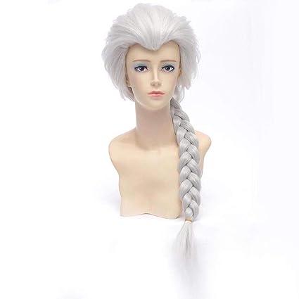 HongHu Frozen Ice Queen Aisha Pelucas rectas largas con trenza Anime Pelucas Pelo sintético para Cosplay