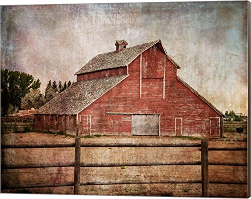 Decorating Wall Art - York Road Barn by Ramona Murdock Canvas Art Wall Picture, Museum Wrapped with Nutmeg Sides, 20 x 16 inches