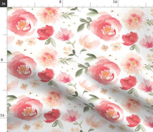 Coral Flower Fabric - Peony Garden in Peach Watercolor Floral Hand Painted Blush Pink Large Modern Print on Fabric by The Yard - Minky for Sewing Baby Blankets Quilt Backing Plush Toys