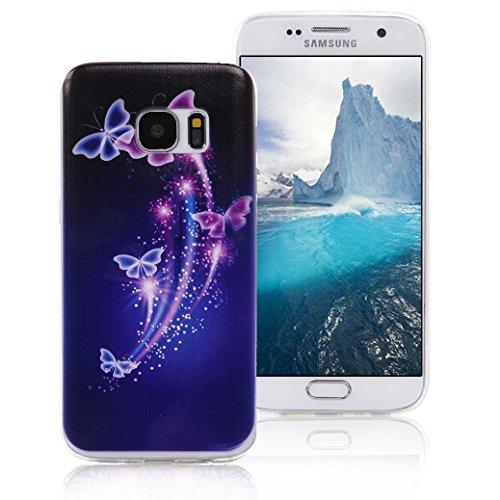 Funda Samsung Galaxy S7 EDGE AllDo Carcasa Silicona Caucho Funda Transparente Clara Soft Slim Case Cover Bumper Carcasa Protectora Funda Blanda Suave Flexible Caja Ultra Delgado Ligero Casco Anti Rasg Mariposas Azules y Púrpuras