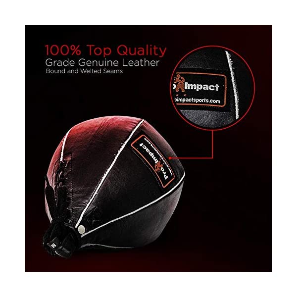 Pro Impact Genuine Leather Speedbag Black - Heavy Duty Leather Hanging Swivel Punch Ball for Boxing MMA Muay Thai Fitness or Fighting Sport Training 5