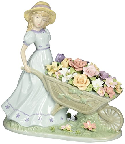 Cosmos 96491 Girl Pushing Flower Cart Ceramic Figurine, 8-1 4-Inch