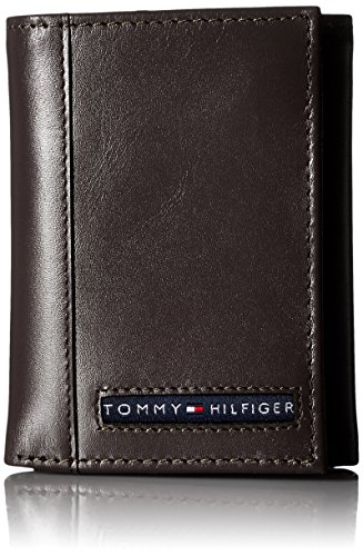 Tommy Hilfiger Men's Trifold Wallet-Sleek and Slim Includes ID Window and Credit Card Holder, Brown, One Size