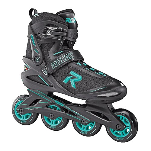 Roces 400822 Women's Model Icon Fitness Inline Skate, US 10, Black/Aqua by Roces